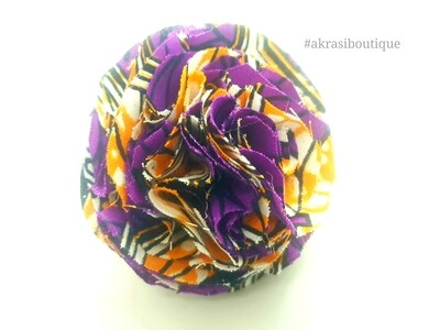 African print purple and orange ruffle flower | flower pin | flower hair clip | flower brooch | clothing accessories