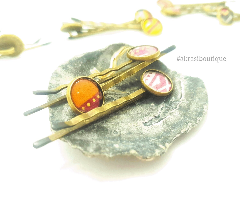 Dashiki hair pin set | African Bobby pin | Ankara hair slide