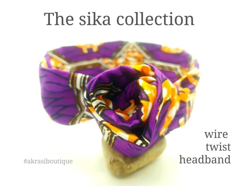 ankara print wire twist hair tie   purple sika hair wrap   headband   African print headwrap   Ankara print wire headtie   wire hair tie