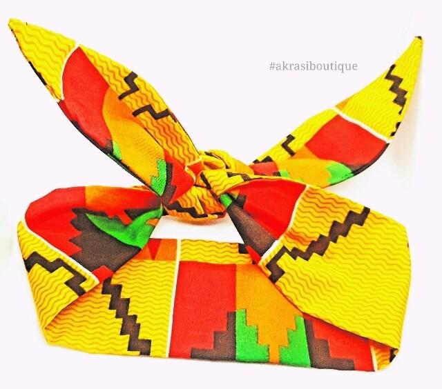 Kente print hair tie   hair wrap   headband   African print headwrap   Ankara print headtie   knotted hair tie