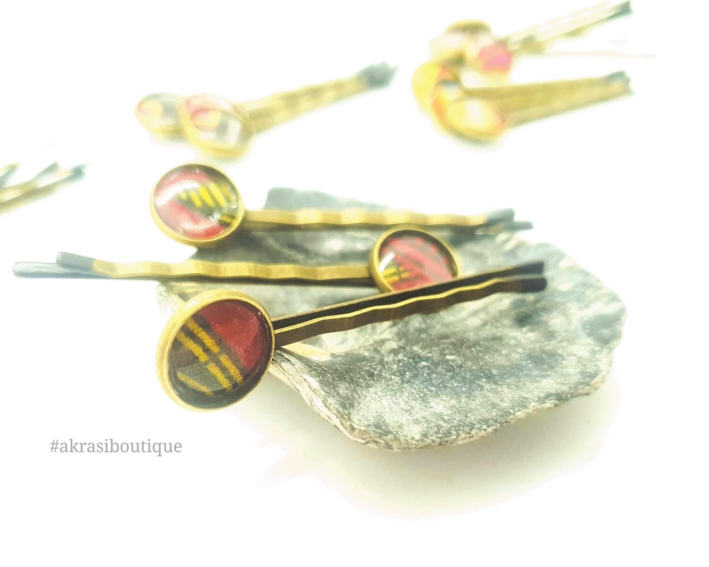 Ankara hair pin set | African Bobby pin | Ankara hair slide