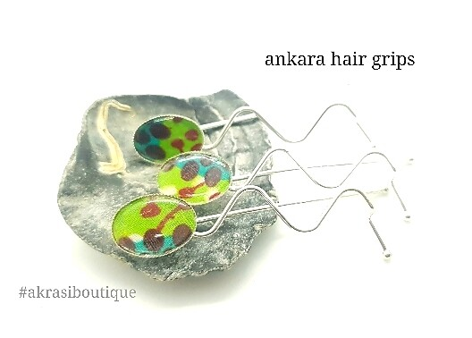 Ankara detail wavy silver or bronze hair grip | hair slide | hair accessories