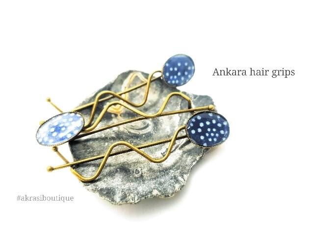 African wax blue ankara detail wavy bronze hair grip | hair slide | hair accessories