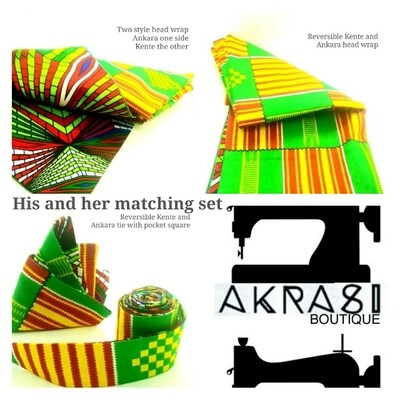 Custom handmade his and her kente set for Lyricl