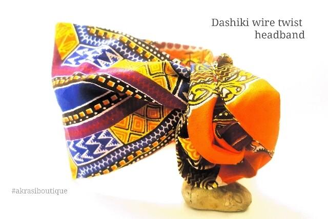 Orange Dashiki print wire twist hair tie   hair wrap   headband   African print headwrap   Ankara print wire headtie   wire hair tie