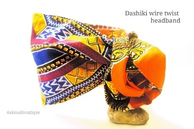 Orange Dashiki print wire twist hair tie | hair wrap | headband | African print headwrap | Ankara print wire headtie | wire hair tie