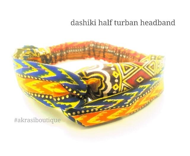 Orange Dashiki print half turban headband   African wax print headwrap   African twisted headband