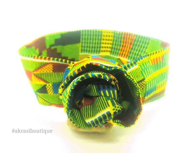 Green Kente wire twist hair tie   hair wrap   headband   African wax print headwrap