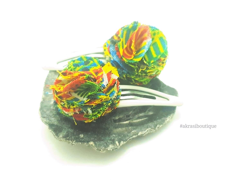 African wax green kente print ruffle flower snap clips | Ankara hair clip | hair accessories