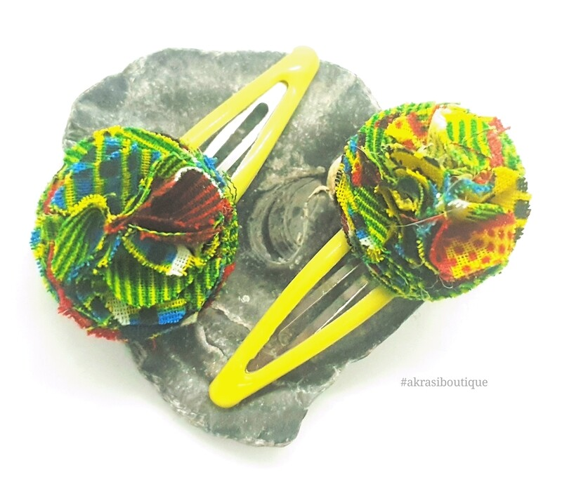 African wax green kente print ruffle flower snap clips | Ankara hair clip | hair accessories