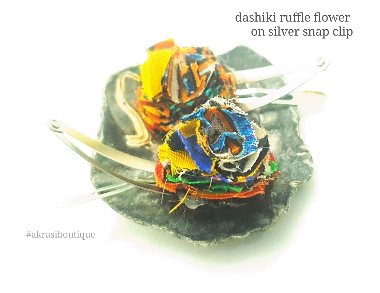 African wax dashiki print ruffle flower on silver snap clips   Ankara hair clip   hair accessories   transition hair