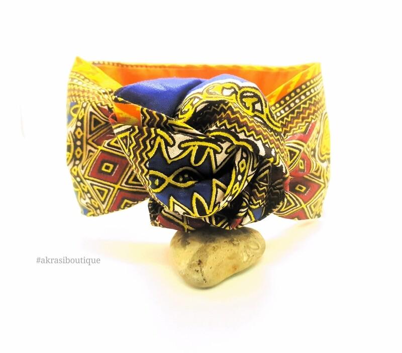 Orange and blue Dashiki print wire twist hair tie   hair wrap   headband   African print headwrap   Ankara print wire headtie   wire hair tie