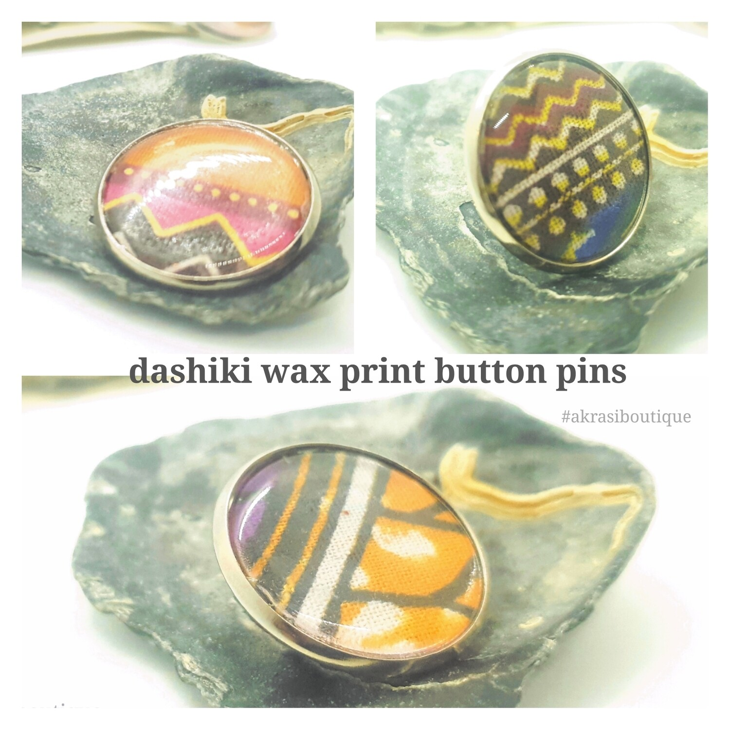African wax print button pins | Ankara button pin | Kente pin | Dashiki badge