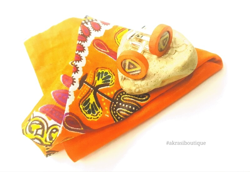 Dashiki African wax print pocket square with cufflinks | men's accessories