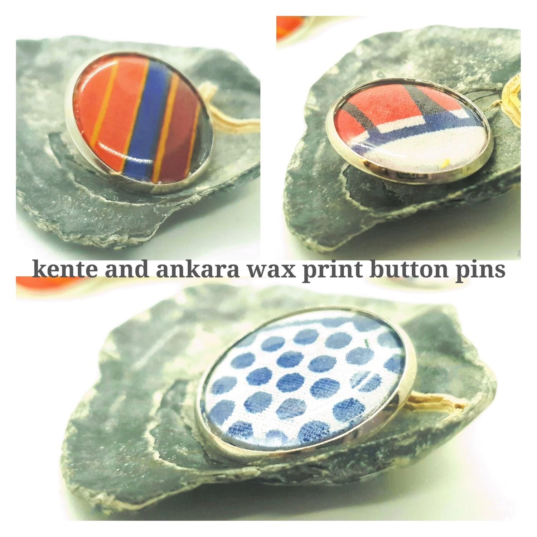 African wax print button pins | Ankara button pin | Kente pin