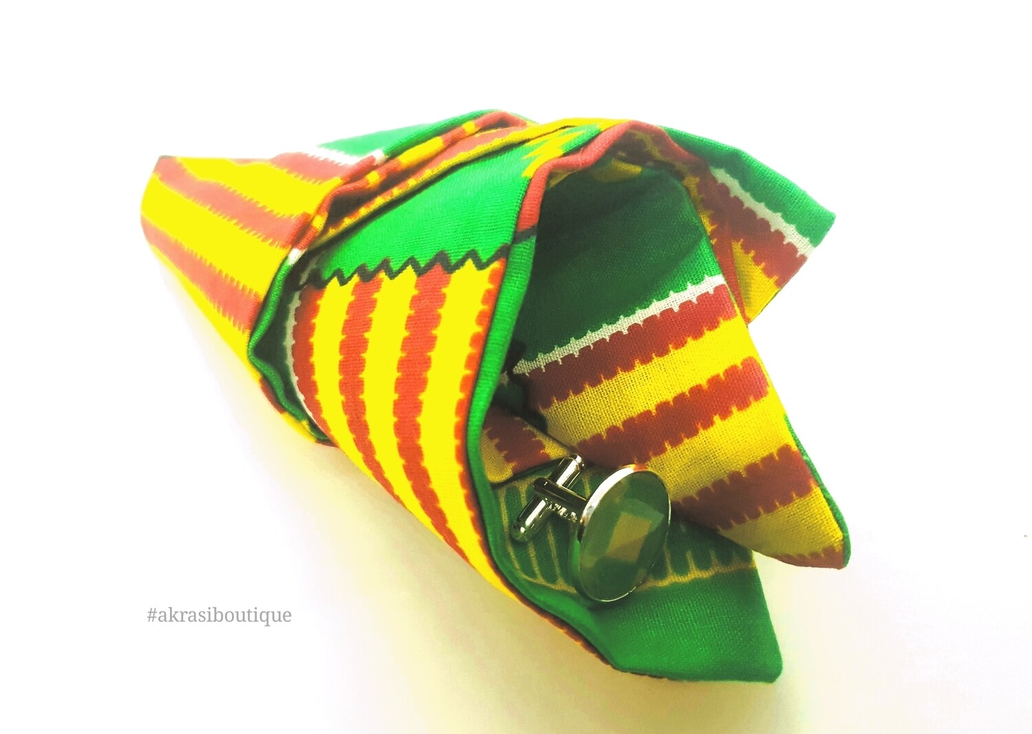 Green and yellow Kente African wax print pocket square with cufflinks | men's accessories | Ankara pocket square | African cufflinks