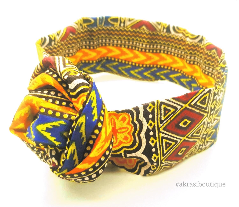 Orange Dashiki print wire twist hair tie | hair wrap | headband | African print headwrap | Ankara print wire headtie | wire hair tie