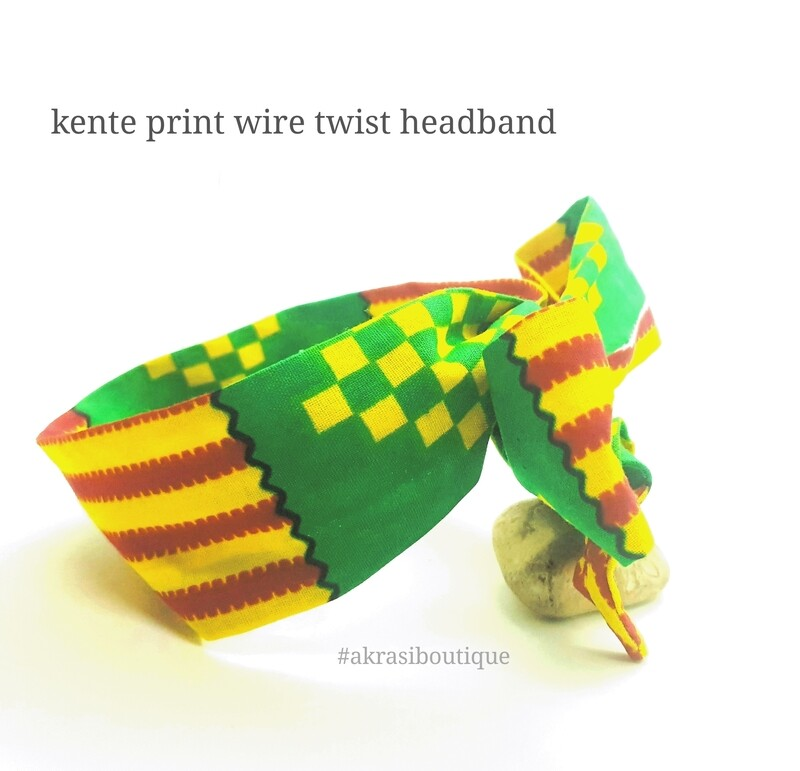 Green, red and yellow Kente print wire twist hair tie   hair wrap   headband   African print headwrap   Ankara print wire headtie   wire hair tie