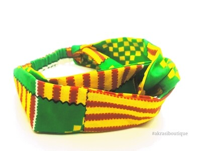 Green and yellow kente print half turban headband | African wax print headwrap | African twisted headband