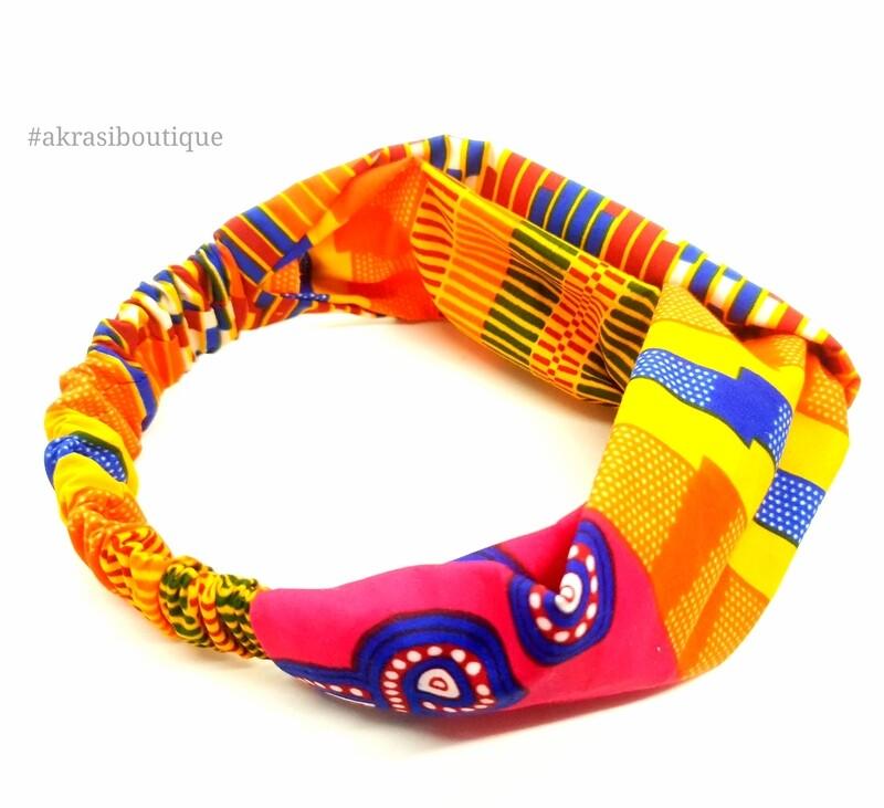 Supreme kente print half turban headband   African wax print headwrap   African twisted headband