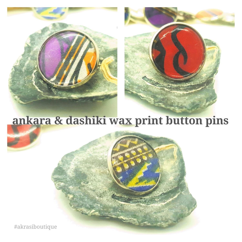African wax print button pins | Dashiki button pin | Kente pin