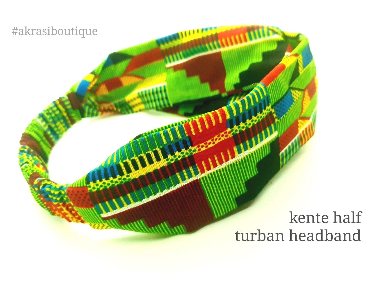 Green and red kente print half turban headband | African wax print headwrap | African twisted headband