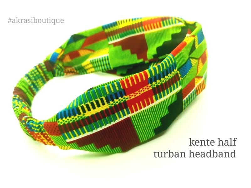 Green and red kente print half turban headband   African wax print headwrap   African twisted headband