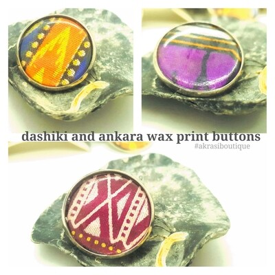 African wax print button pins | Ankara button pin | Kente pin