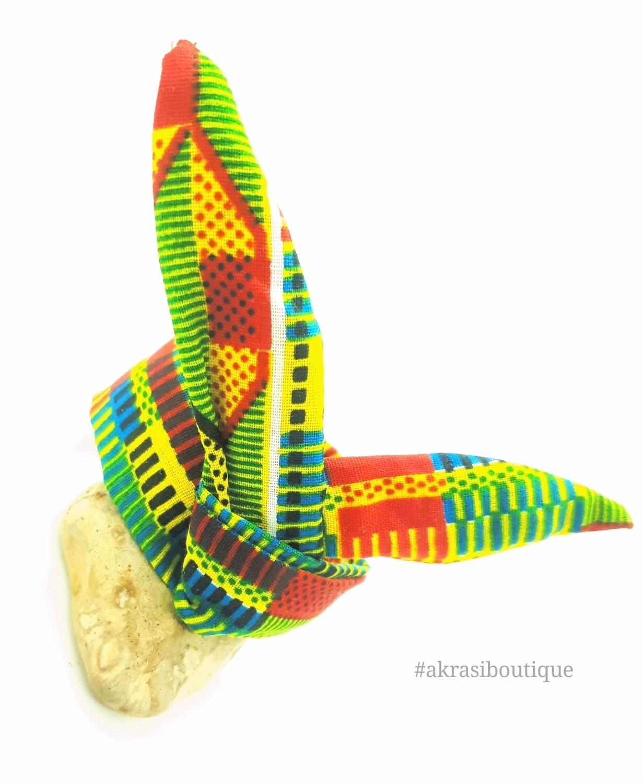 African green kente print wire twist bun tie | African print bun wrap | Ankara print headtie | wire hair tie