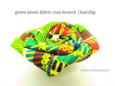 Fabric rose with pearl in African kente print flower pin | flower hair clip | flower brooch | clothing accessories