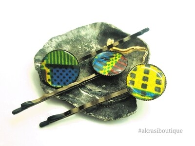 Kente silver hair pin set   African Bobby pin   Ankara hair slide