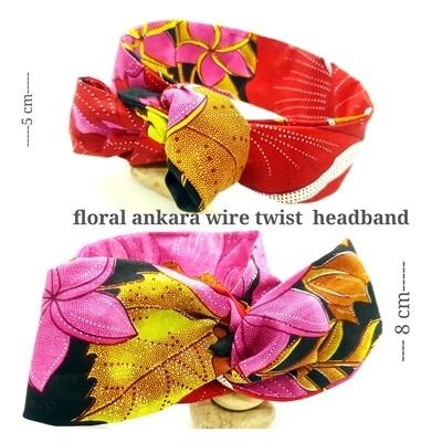 Black ankara floral print wire twist hair tie | hair wrap | African print headwrap | Ankara print wire head tie