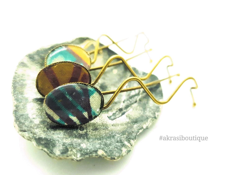African wax dashiki detail wavy bronze hair grip | hair slide | hair accessories