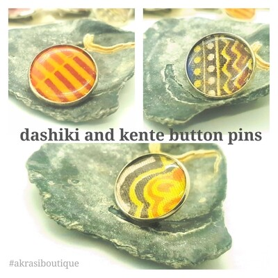 African wax print button pins | Ankara button pin