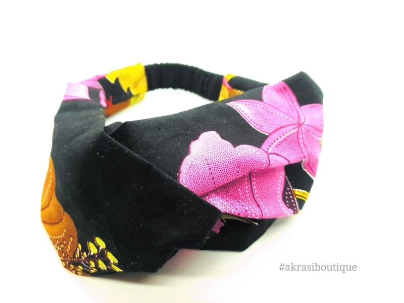 Black Ankara floral print half turban headband   African wax print headwrap   African twisted headband
