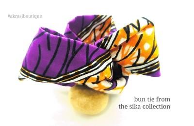 purple sika hair wire twist bun tie | African print bun wrap | Ankara print wire hair tie