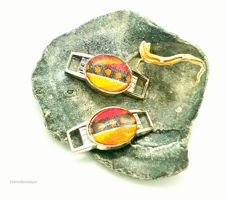 African wax dashiki print shoe tag | Ankara lace locks | clothing accessories