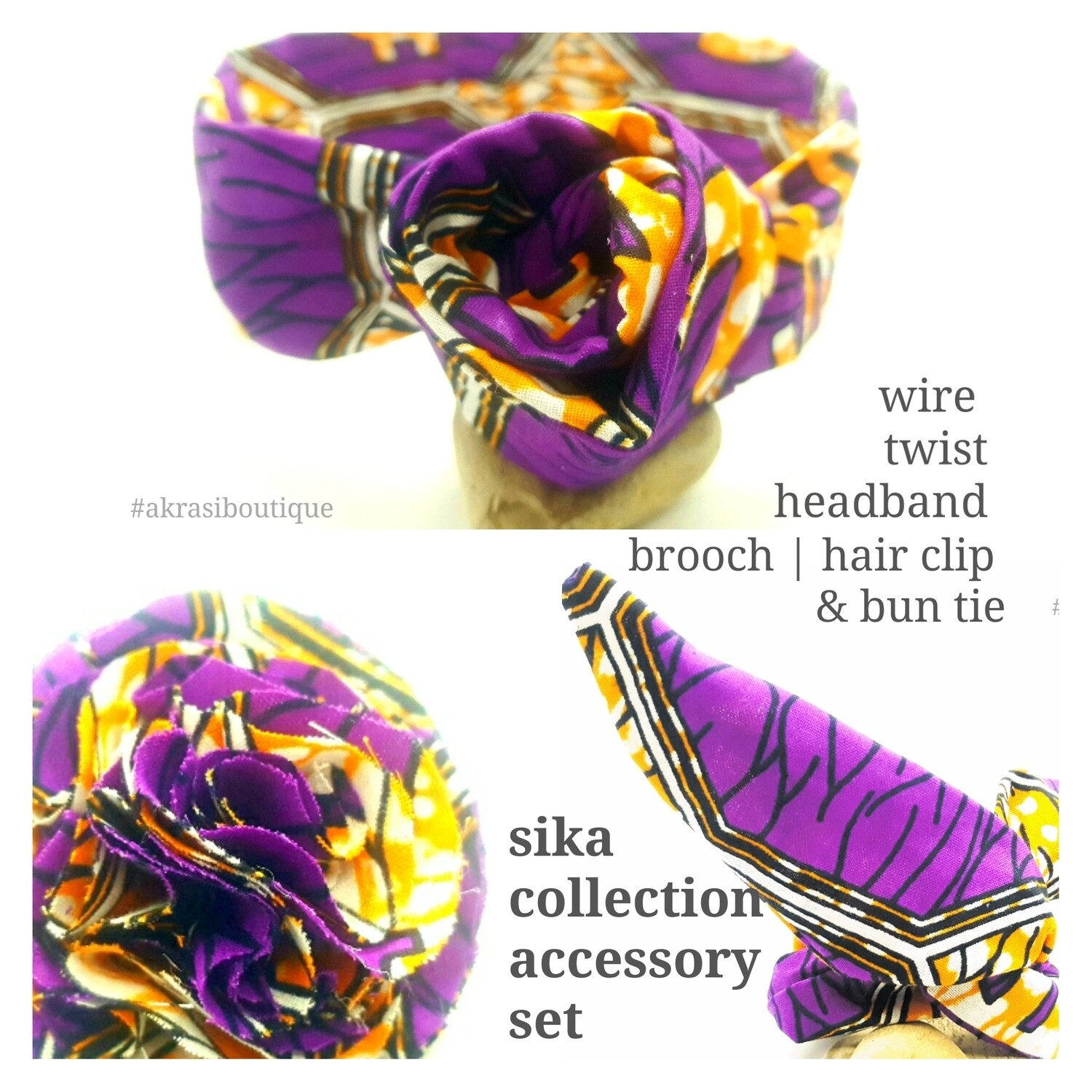 Sika collection accessory set includes purple ankara wire twist hair tie, bun tie and flower brooch | hair clip
