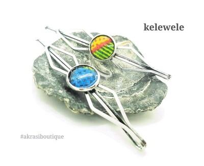 African wax kente detail silver hair grip | hair slide | hair accessories