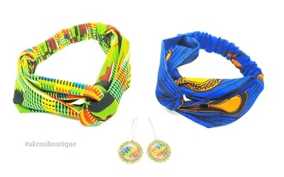 1 x green kente and 1 x ankrara blue and orange turban headband