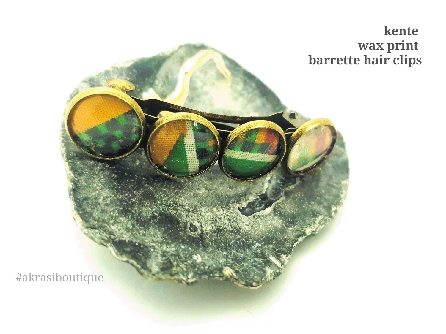 Kente green and yellow barrette hair clip in bronze