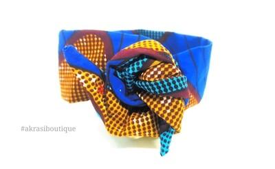 Blue ankara floral print wire twist hair tie | hair wrap | African print headwrap | Ankara print wire head tie