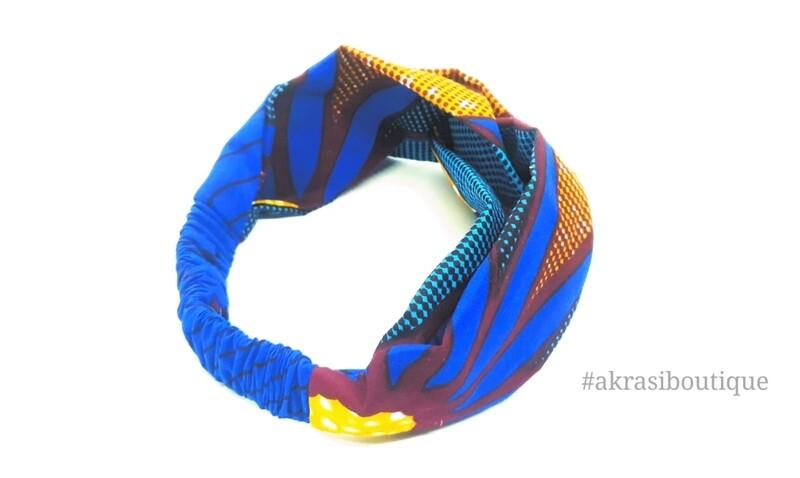 Ankara print blue, brown and red turban headband  African print headwrap   headtie    headband   hair tie