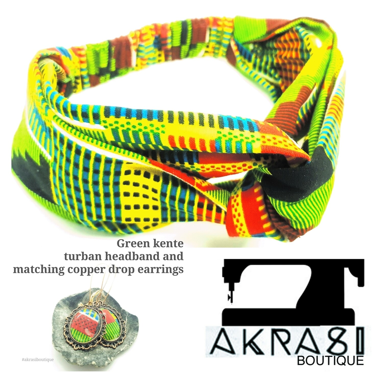 Kente collection accessory set includes green kente wire turban headband and matching copper drop earrings