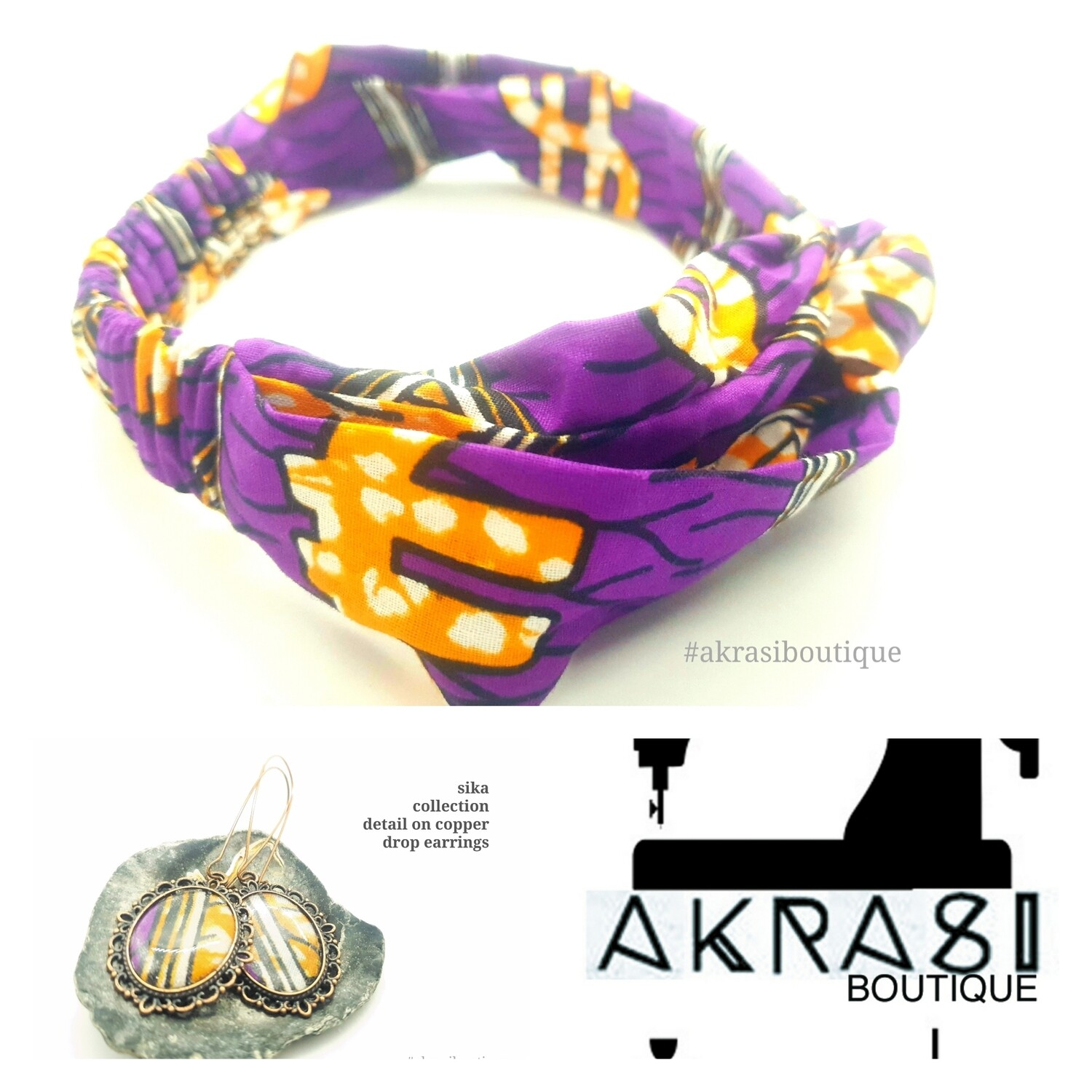Sika collection accessory set includes purple ankara wire half turban headband and matching copper drop earrings