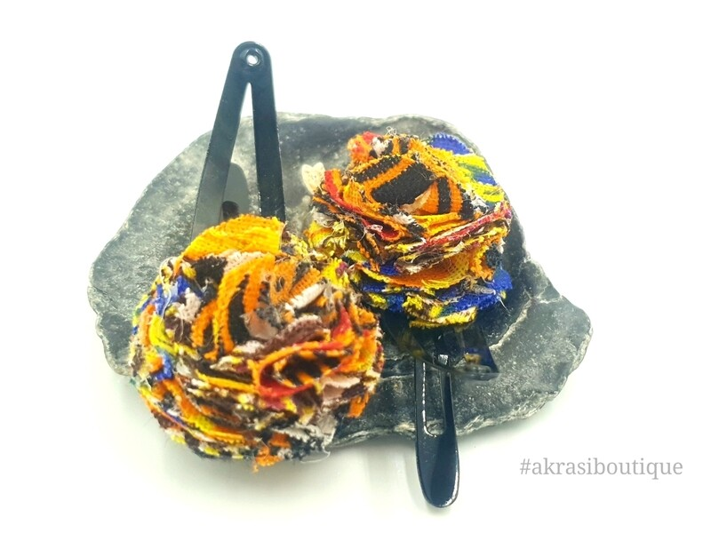 African wax dashiki print ruffle flower snap clips | Ankara hair clip | hair accessories | transition hair