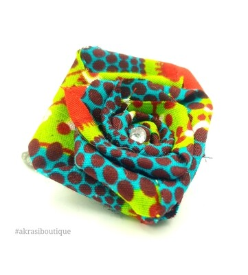 African wax print flower with gem centre | fabric flower | flower pin | flower hair clip | flower brooch | clothing accessories