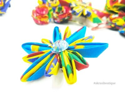Star flower with in kente with vintage button centre   kanzashi flower hair clip   flower brooch   clothing accessories