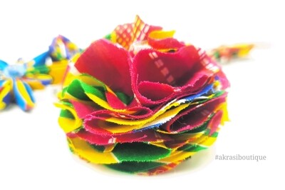 African print carnation ruffle flower | Kente flower | flower pin | flower hair clip | flower brooch | clothing accessories