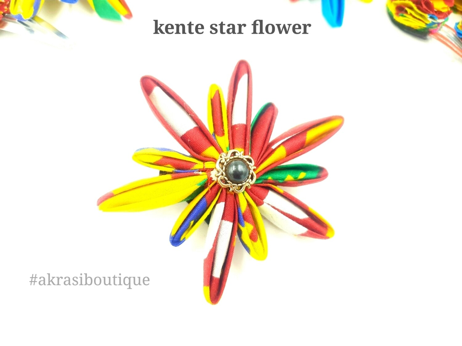 Star flower with in kente with vintage button centre | kanzashi flower hair clip | flower brooch | clothing accessories